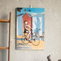 J2-13 자전거 타는 여인 액자