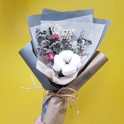 로랑 드라이플라워 도깨비목화 꽃다발 (블루몽실이)