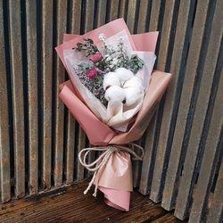 로랑 드라이플라워 도깨비목화 꽃다발 (핑크몽실이)