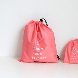 W 스트링 파우치 L Pink