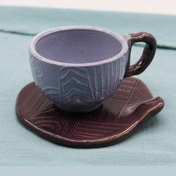 도자기 에스프레소 샷잔 커피잔 세트-퍼플