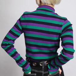 color stripe high neck T (3 color)