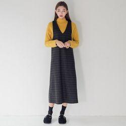 [로코식스] calm layerd check wool OPS원피스