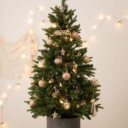 크리스마스 베이직 틴트리 90cm+골드 오너먼트세트