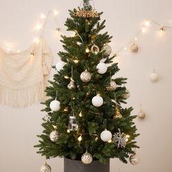 크리스마스 베이직 틴트리 90cm+실버 오너먼트세트