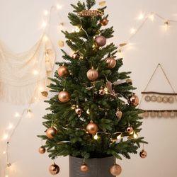 크리스마스 베이직 틴트리 90cm+브론즈 오너먼트세트