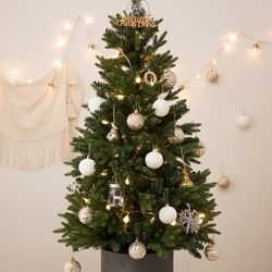 크리스마스 베이직 틴트리 120cm+실버 오너먼트세트
