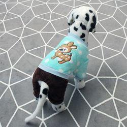 [펫딘]사슴 똑딱이 배색 강아지옷 올인원 민트