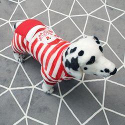 [펫딘]산타 스트라이프 강아지옷 올인원 레드