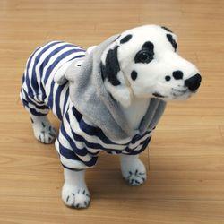[펫딘]스트라이프 바니 후드 강아지옷 올인원 네이비