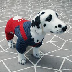 [펫딘]캣 멜빵 똑딱이 배색 강아지옷 올인원 레드
