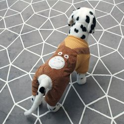 [펫딘]캣 멜빵 똑딱이 배색 강아지옷 올인원 브라운