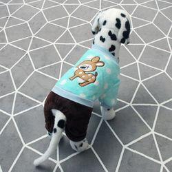 사슴 똑딱이 배색 강아지옷 올인원 민트