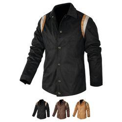 어깨배색 세무 레더자켓 (3color) JKL183