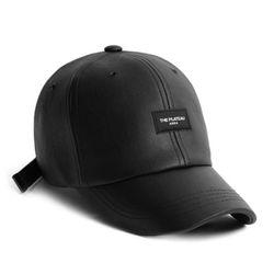 LEATHER P AREA CAP BLACK 가죽볼캡