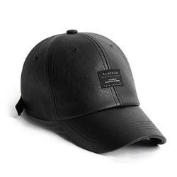 LEATHER BK BASIC CAP BLACK 가죽볼캡