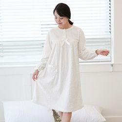 쁘띠쁘랑각번장미 극세사 원피스잠옷 백아이보리
