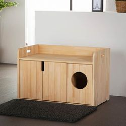 퍼피노 펫블리 하이 원목 고양이 화장실(대) bs009