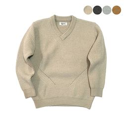 V-neck Wool Bulky Sweater(4color)(unisex)