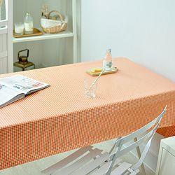 4미리체크 오렌지 방수식탁보(2인90cm)