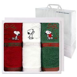 스누피 리본 크리스마스 3매 선물세트(쇼핑백) 답례품