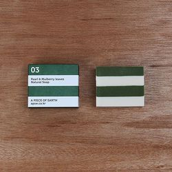 [천연수제비누] Stripe 03 white+green