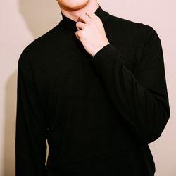 하프 폴라 니트 티셔츠 블랙