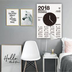 퍼니즈  2018캘린더클락(화이트) 벽시계 +포스터달력