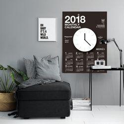 퍼니즈  2018캘린더클락(블랙) 벽시계 +포스터달력
