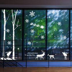 pj139-숲속나무와사슴크리스마스스티커