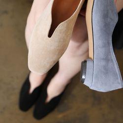 [쿠루] 여성 2cm 절개포인트 스웨이드 플랫 G6143
