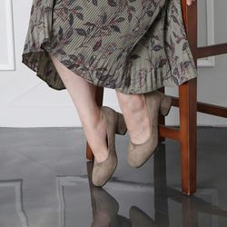 [쿠루] 여성 5cm 스웨이드 청키굽 미들힐 G6193
