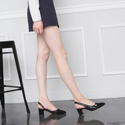 [쿠루] 여성 5cm 앞코배색 슬링백 미들힐 G6155