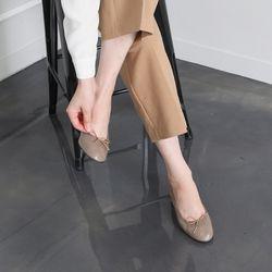 [쿠루] 여성 3.5cm 밴딩 리본장식 미들힐 G6127