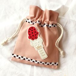 ice cream pink pouch