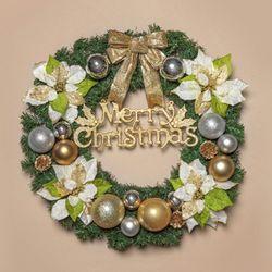 60cm 골드 포인세티아 원형 리스 XTS7468 크리스마스