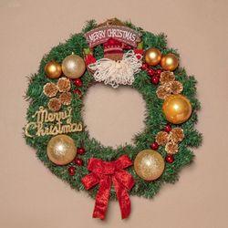 50cm 메리산타 원형 리스   XTS7471 크리스마스