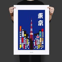 일본 인테리어 디자인 포스터 도쿄의밤2 A3(중형)