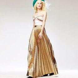 Gold Frost Color Wrinkle Skirt