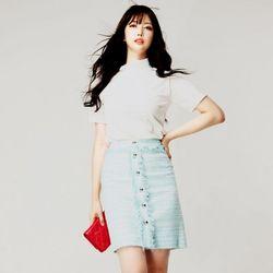 Button Tweed Skirt