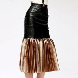 Leather Accordion Skirt