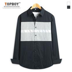 [탑보이] 노블 배색 긴팔셔츠 (DL506)