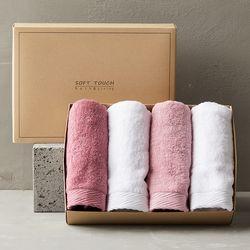 5+1 프리미엄 호텔수건 190g 선물세트 4매 (핑크톤)