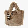 Fur Bag (dark beige) & 골드 스트라이프 charm