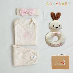[무료배송/선물박스증정] 오가닉여름탄생4종선물세트(여아3종+토끼딸랑이)