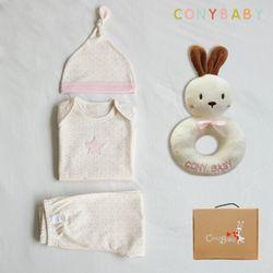 [무료배송/선물박스증정] [CONY]오가닉팅커벨4종선물세트(의류3종+토끼딸랑이)