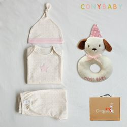 [무료배송/선물박스증정] [CONY]오가닉팅커벨4종선물세트(의류3종+강아지딸랑이