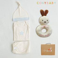 [무료배송/선물박스증정] [CONY]오가닉피터팬4종선물세트(의류3종+토끼딸랑이)