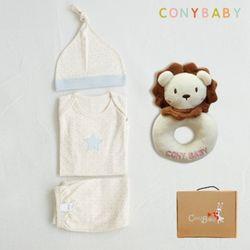 [무료배송/선물박스증정] [CONY]오가닉피터팬4종선물세트(의류3종+사자딸랑이)