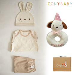 [CONY]오가닉토끼4종선물세트(의류3종+강아지딸랑이)